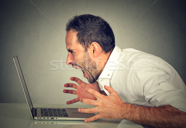 Angry furious business man screaming at computer Stock photo © ichiosea