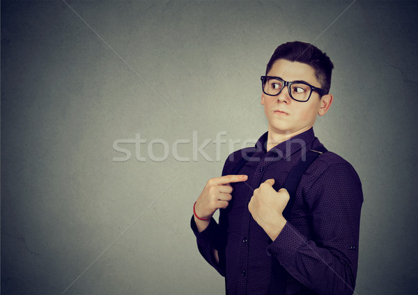 Man pointing fingers at himself denies responsibility   Stock photo © ichiosea