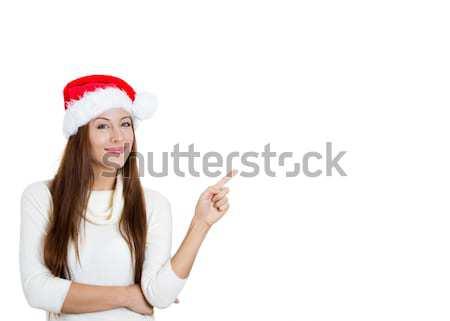 Belle Noël femme pointant espace de copie Photo stock © ichiosea