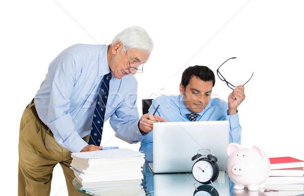 Baas werknemer portret oude ouderen Stockfoto © ichiosea