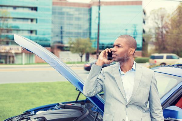 Hangsúlyos férfi gond elromlott autó nyitás hív Stock fotó © ichiosea