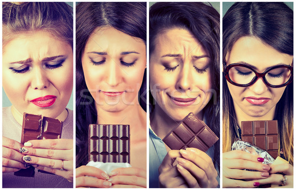 Sad young women tired of diet restrictions craving sweets chocolate. Stock photo © ichiosea