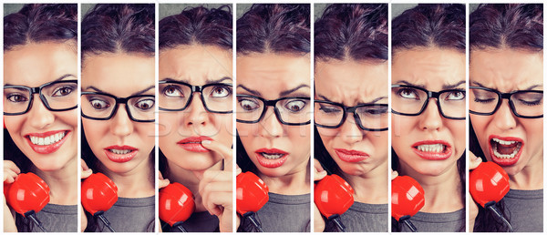 Woman changing emotions from happy to angry while answering the phone Stock photo © ichiosea
