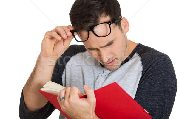 Férfi olvas közelkép portré fiatal fickó Stock fotó © ichiosea