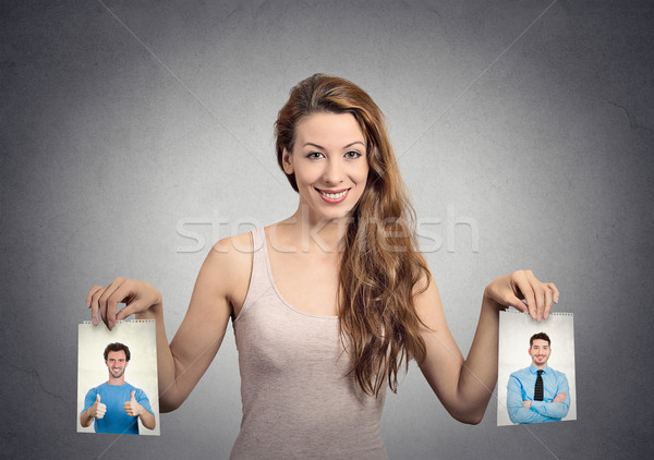 Gyönyörű nő határozatlan férfi választ emberi érzelmek Stock fotó © ichiosea