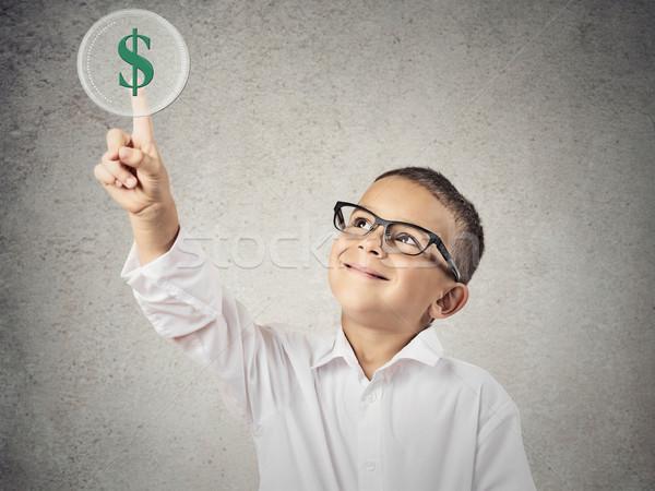 мальчика прикасаться зеленый знак доллара портрет Сток-фото © ichiosea