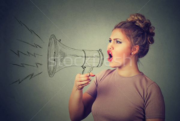young woman screaming in megaphone Stock photo © ichiosea