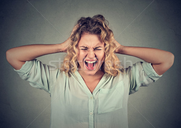 Stressed angry woman yelling screaming has temper tantrum  Stock photo © ichiosea
