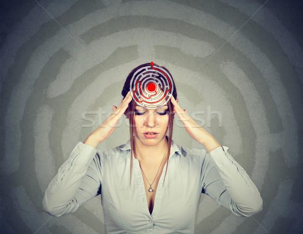 問題 ソリューション 若い女性 パズル 孤立した グレー ストックフォト © ichiosea