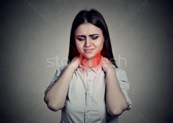 Dolor de cuello manos cara salud fondo Foto stock © ichiosea