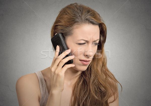 Boldogtalan komoly nő beszél telefon portré Stock fotó © ichiosea