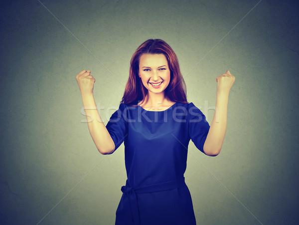 Boldog sikeres diák nő nyerő ünnepel Stock fotó © ichiosea