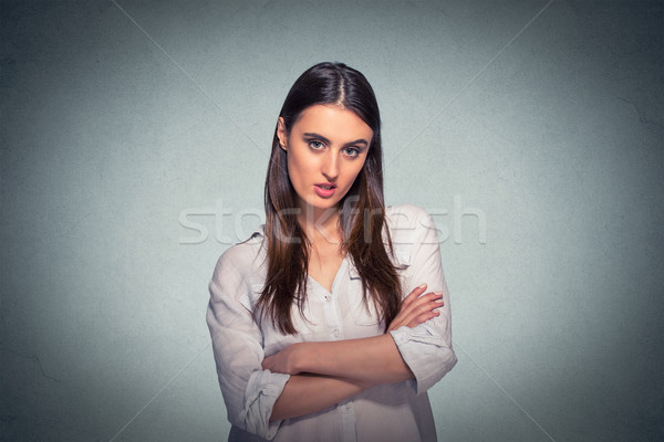 Stock photo: pissed off angry grumpy pessimistic woman with bad attitude
