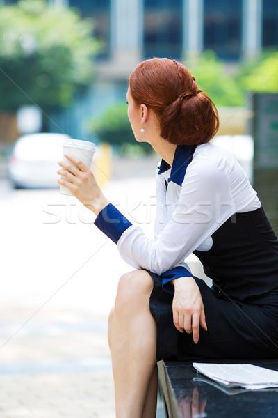 Depressiv business woman Kaffeepause Porträt Bild zurück Stock foto © ichiosea