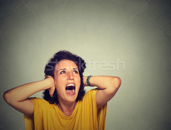 annoyed unhappy stressed woman covering her ears, looking up, screaming  Stock photo © ichiosea