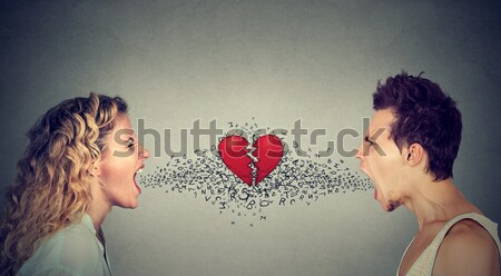 angry couple screaming alphabet letters coming out of mouth Stock photo © ichiosea