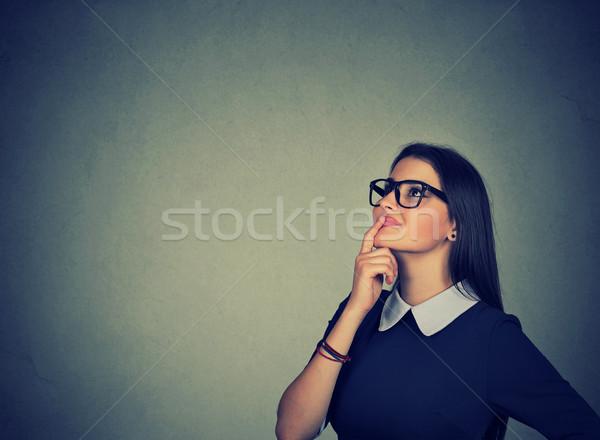 красивая женщина мышления портрет счастливым изолированный Сток-фото © ichiosea