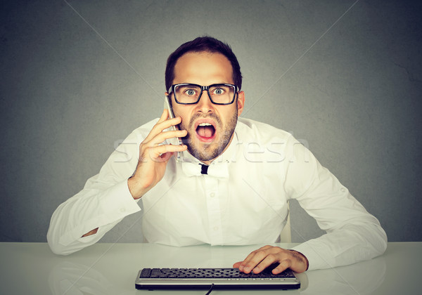 Shocked businessman talking on the phone while using computer  Stock photo © ichiosea