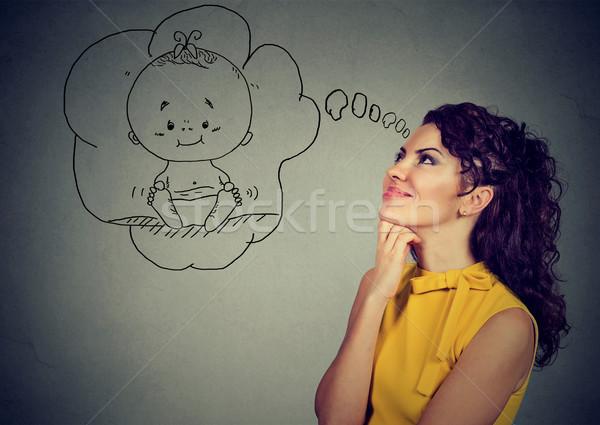 Tartalom nő álmodik baba gyönyörű elegáns Stock fotó © ichiosea