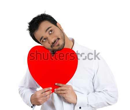happy smiling woman looking excited holding large red heart  Stock photo © ichiosea