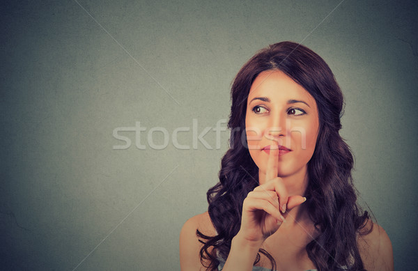 Portré vonzó tinilány ujj ajkak diák Stock fotó © ichiosea