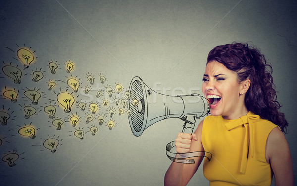 Business woman screaming out her ideas loud in megaphone  Stock photo © ichiosea