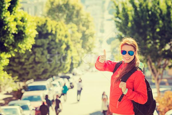 Mosolygó nő napszemüveg hátizsák San Francisco város napos idő Stock fotó © ichiosea
