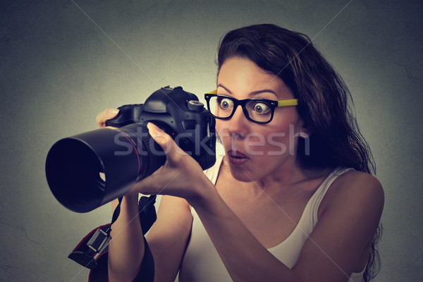 Izgatott megrémült nő profi dslr kamera Stock fotó © ichiosea