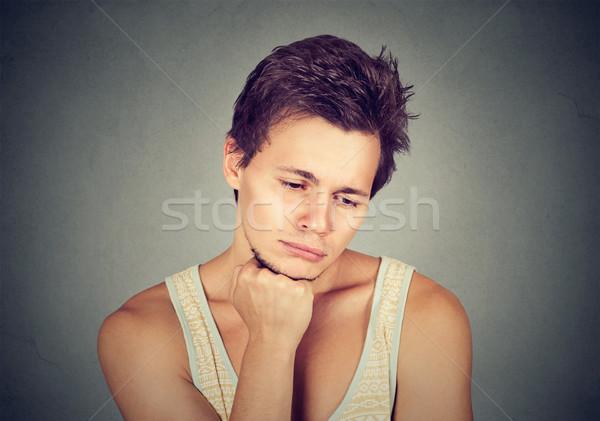 Sad man looking down has no motivation in life depressed  Stock photo © ichiosea