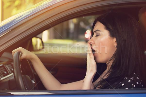 álmos ásít nő vezetés autó hosszú Stock fotó © ichiosea