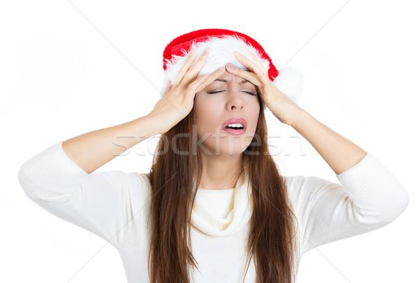Hangsúlyos karácsony nő fejfájás közelkép portré Stock fotó © ichiosea