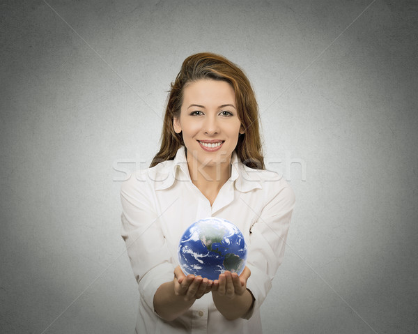 woman holding glowing earth globe Stock photo © ichiosea