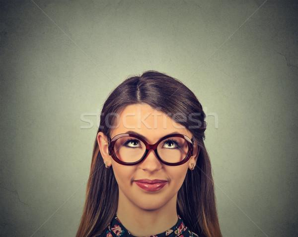 closeup portrait headshot cute happy woman in glasses looking up  Stock photo © ichiosea
