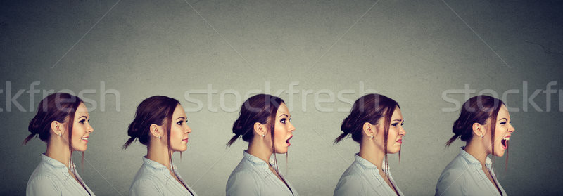 Mood swing. Young woman expressing different emotions and feelings  Stock photo © ichiosea