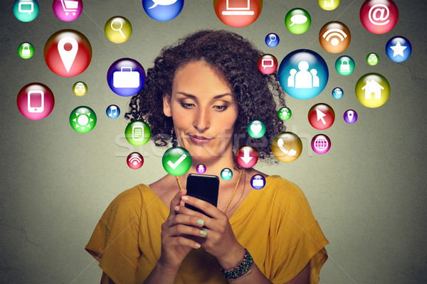 Kommunikation Technologie Handy Tech verärgert Frau Stock foto © ichiosea