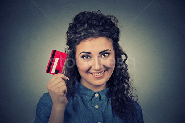 woman shopping on line holding showing credit card Stock photo © ichiosea