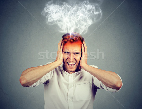 stressed man screaming overwhelmed steam coming out up of head  Stock photo © ichiosea