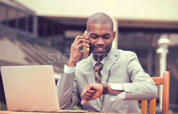 Stockfoto: Zakenman · werken · laptop · praten · telefoon · naar