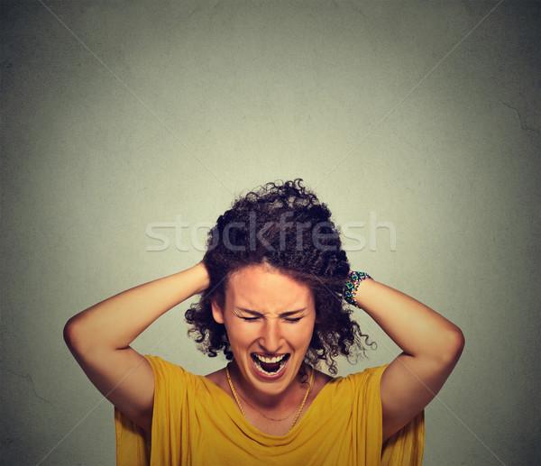 Stres kadın çılgın saç Stok fotoğraf © ichiosea