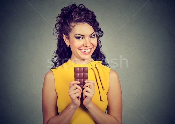 Portrait of a young brunette chocolate loving woman  Stock photo © ichiosea