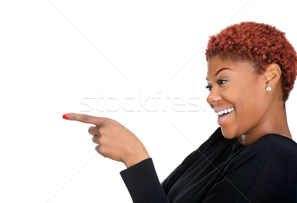 Woman laughing and poiting Stock photo © ichiosea