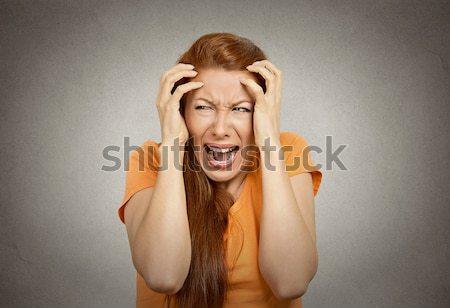 Femme suicide doigt fusil geste Photo stock © ichiosea