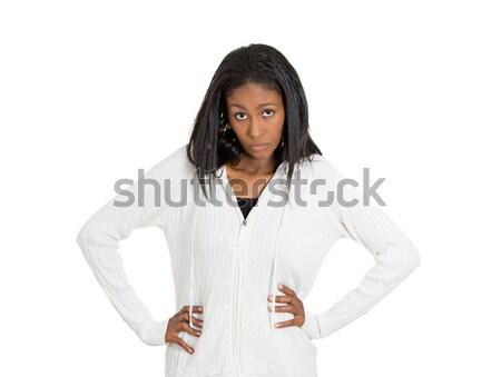 Retrato zangado mulher branco negativo Foto stock © ichiosea