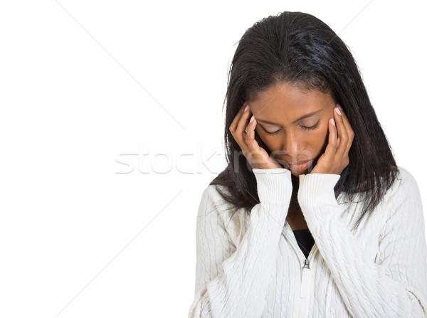 Infeliz triste mulher olhando para baixo retrato Foto stock © ichiosea