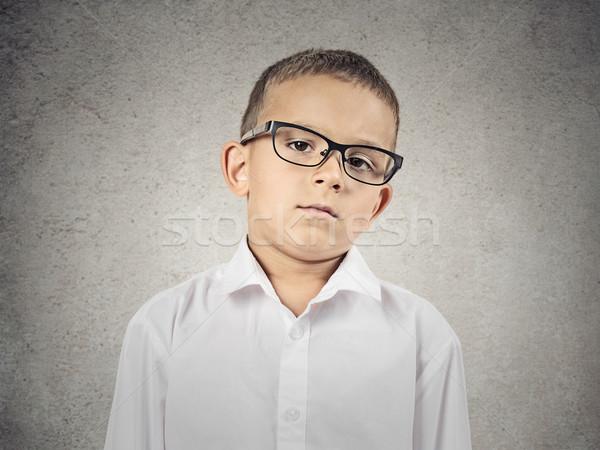 Stock fotó: Fiú · arc · közelkép · portré · szkeptikus · szemüveg