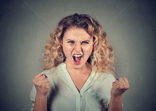 angry woman having nervous breakdown screaming fists up in air Stock photo © ichiosea