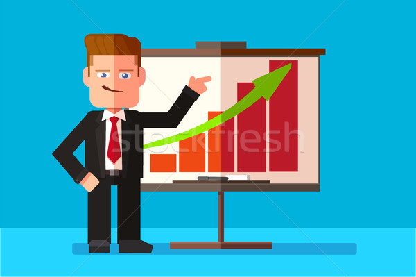 Corporate man presenting his business report through infographics.  Stock photo © ichiosea