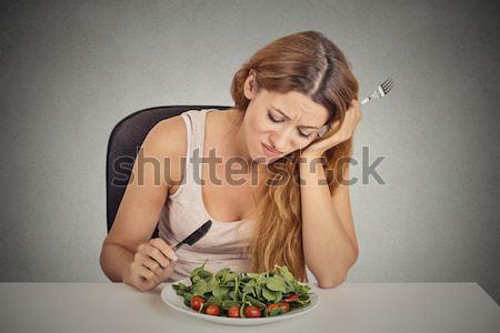Kadın yorgun diyet yemek sağlıklı gıda tatlı Stok fotoğraf © ichiosea