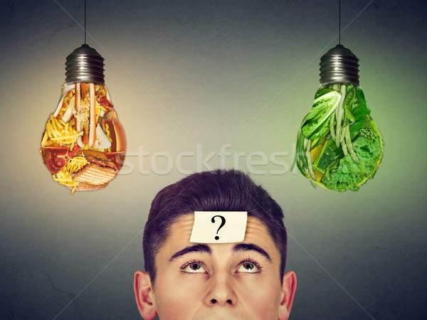 man with question looking at junk food vegetables light bulbs Stock photo © ichiosea
