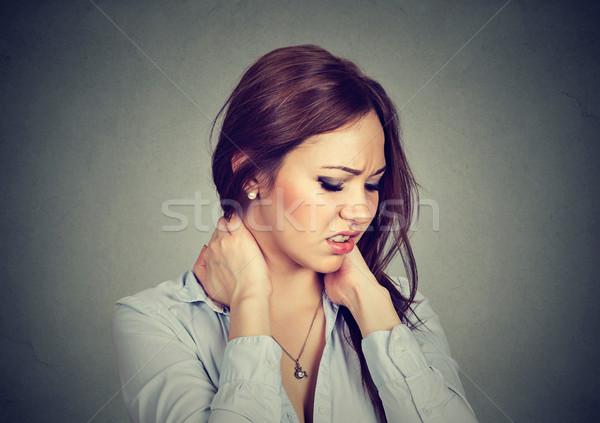 Maakt een reservekopie wervelkolom ziekte moe vrouw Stockfoto © ichiosea